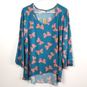 💚Jon & Anna women's teal and pink Top size 1X